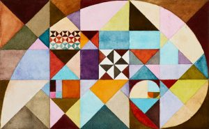 Christina Weisgard - Fibonacci spiralen - akvarel